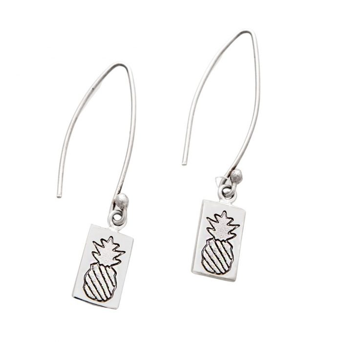 Crowned Pineapple Quilt Jewelry Long Wire Earrings in Sterling Silver Siesta Silver Jewelry