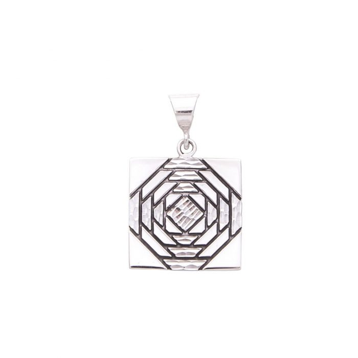 Friendship Pineapple Quilt Jewelry Medium Pendant in Sterling Silver Siesta Silver Jewelry