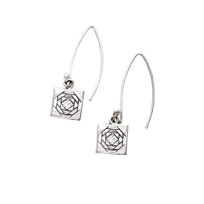Friendship Pineapple Quilt Jewelry Long Wire Earrings Siesta Silver Jewelry