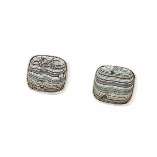Vintage Fordite Post Earrings EVintP0001 Siesta Silver Jewelry
