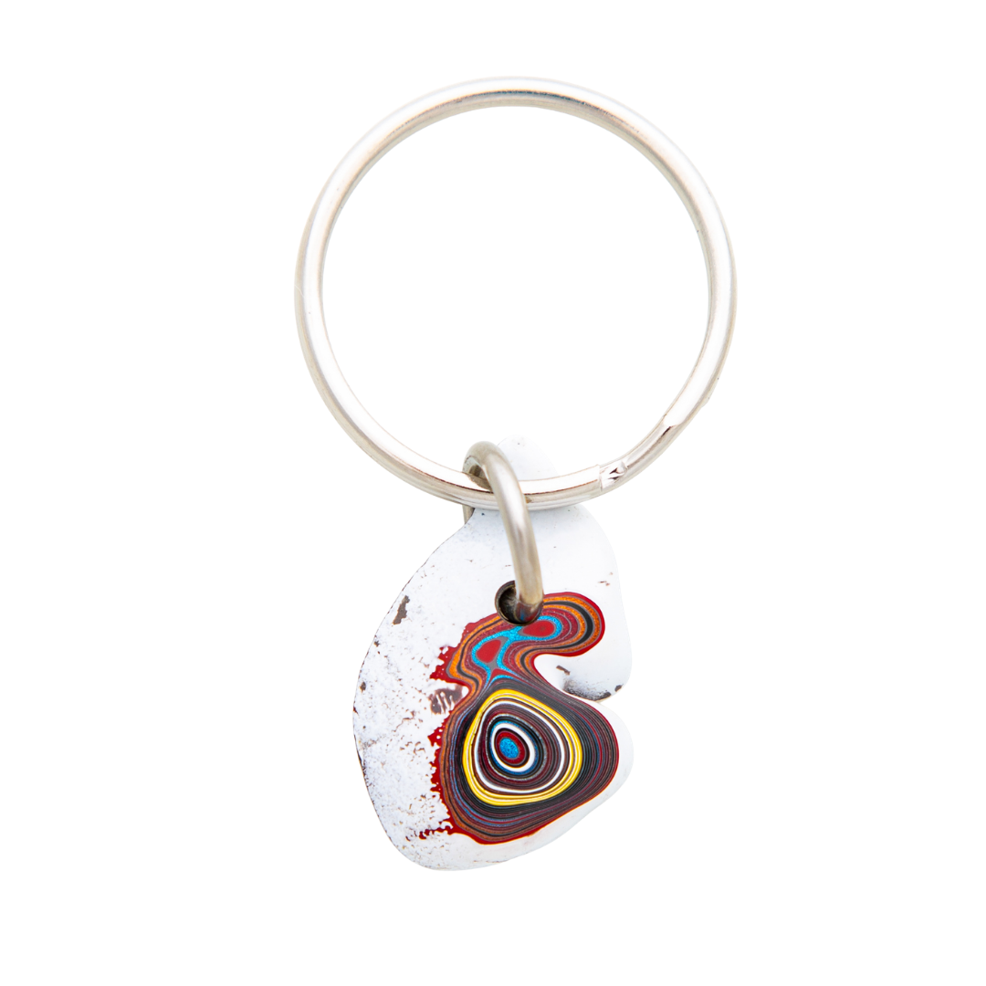 Fordite Corvette Paint Detroit Agate Key Chain Siesta Silver Jewelry Great Gift for Dad or Grad KCCorv001