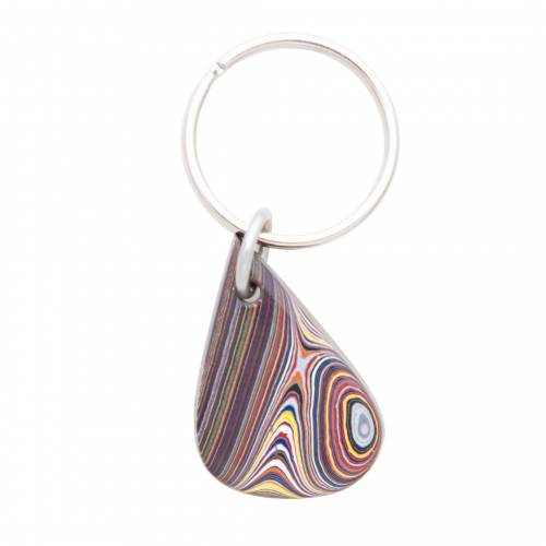 Fordite Corvette Paint Detroit Agate Key Chain Siesta Silver Jewelry Great Gift for Dad or Grad KCCorv003