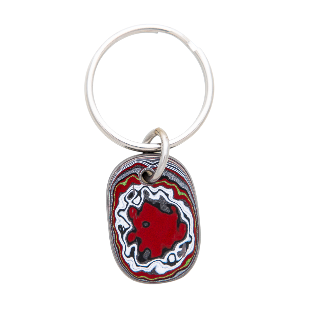 Fordite Mustang Paint Detroit Agate Key Chain Siesta Silver Jewelry Great Gift for Dad or Grad KCMust001