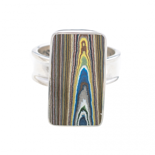 Fordite Vintage Ford Rouge Plant Paint Ring RVint9D Siesta Silver Jewelry