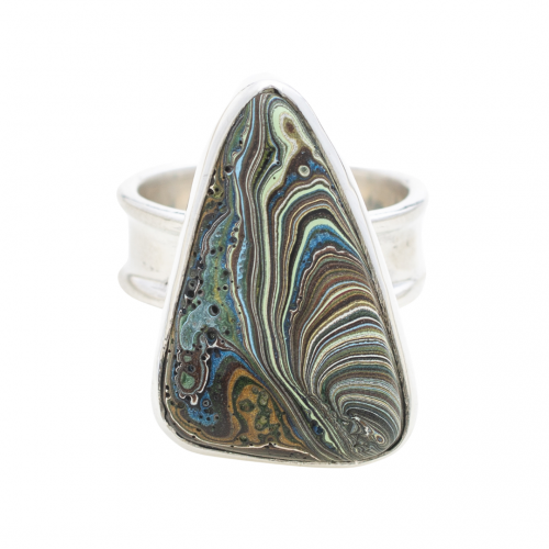 RVint8E Fordite Vintage Ford Rouge Plant Sterling Silver Ring Siesta Silver Jewelry