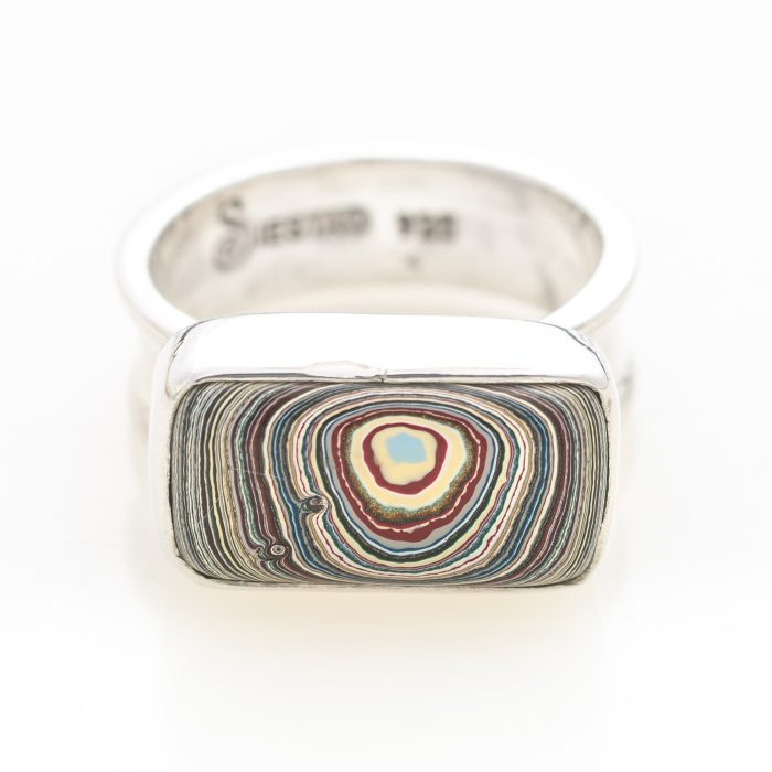 Fordite Vintage Ford Rouge Plant Paint Ring Siesta Silver Jewelry RVint9E